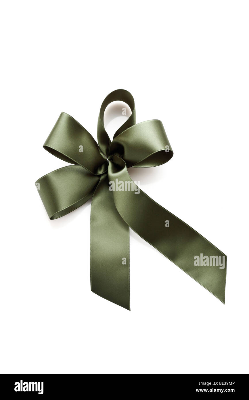 Olive green gift ribbon in a bow - Stock Image