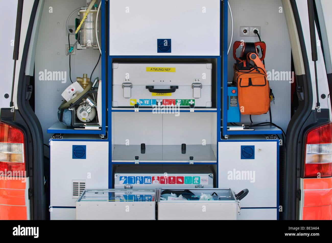 Interior of an ambulance, medication and machines, ready to hand - Stock Image
