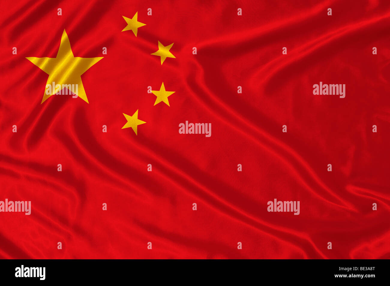 Rippled Chinese flag. National flag of China - Stock Image