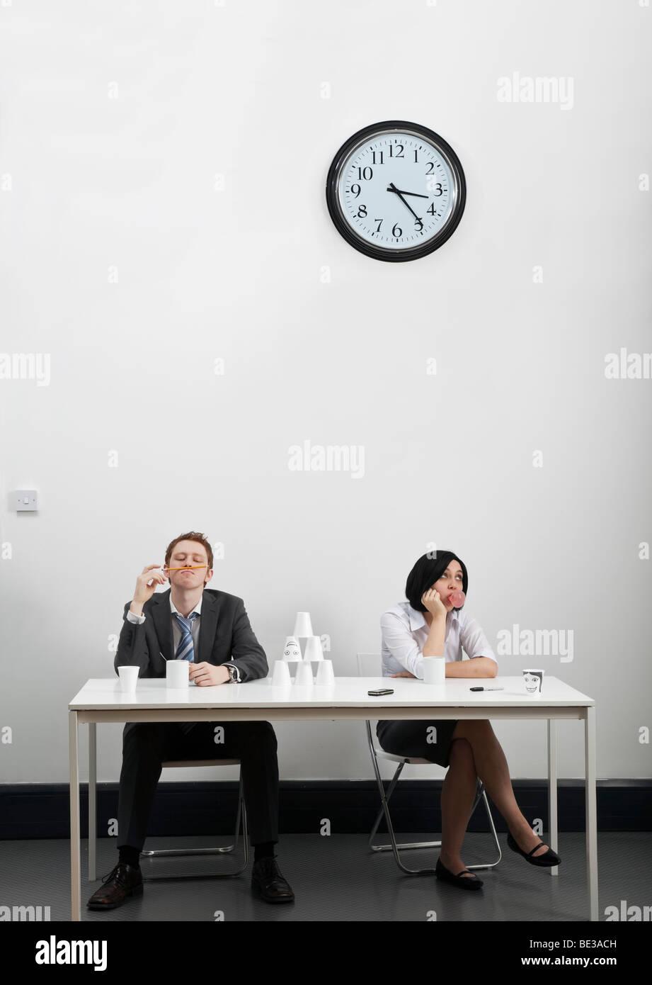 Bored employees on coffee break - Stock Image