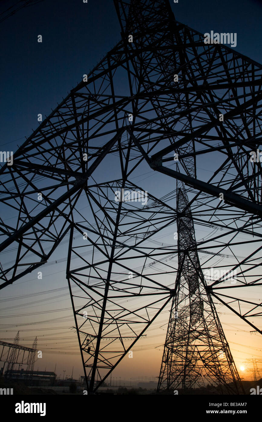Transmission lines towers tower pylon power line Stock Photo