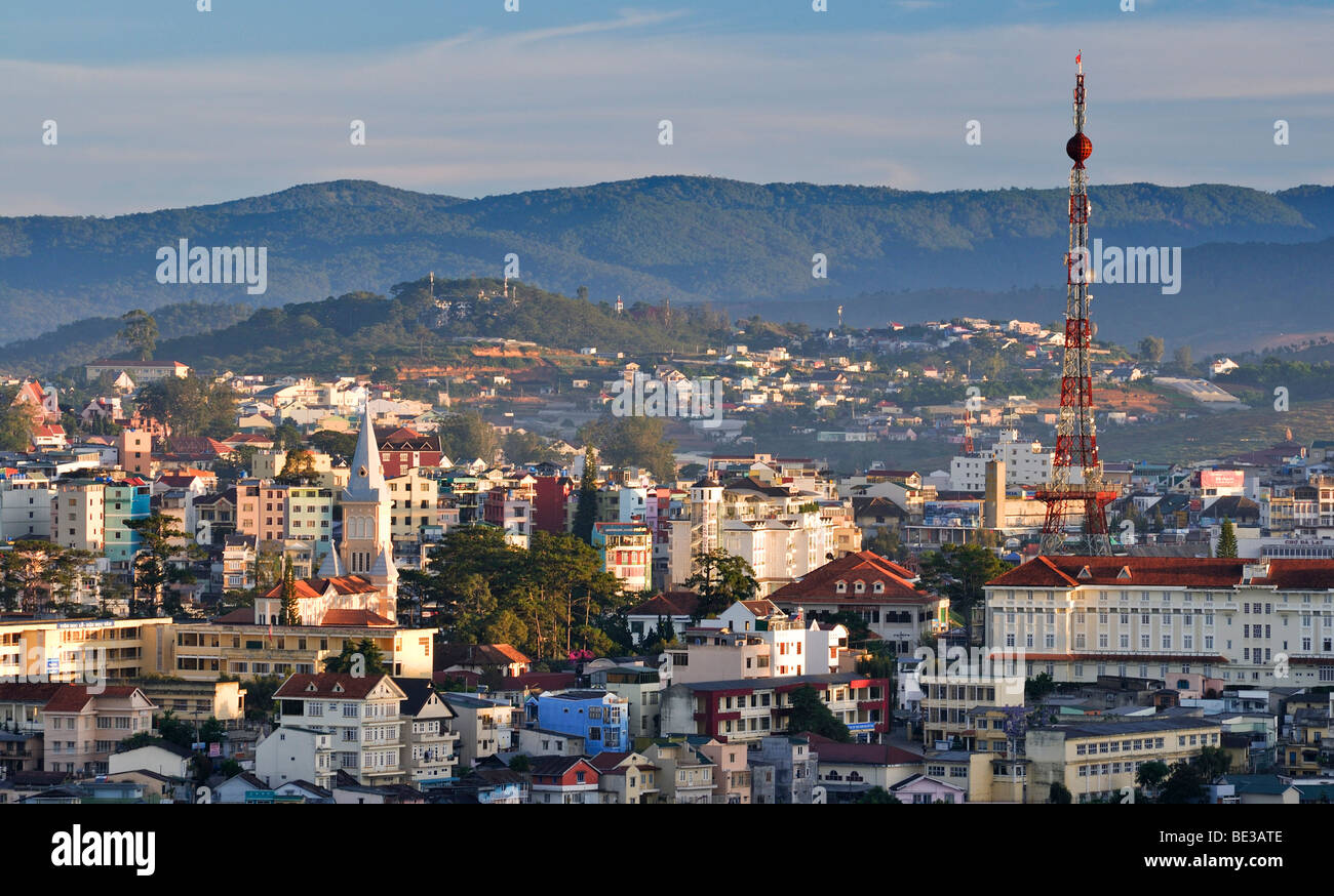 "View over the rooftops of Dalat with the ""Dalat Eiffel Tower"", Central Highlands, Vietnam, Asia Stock Photo"
