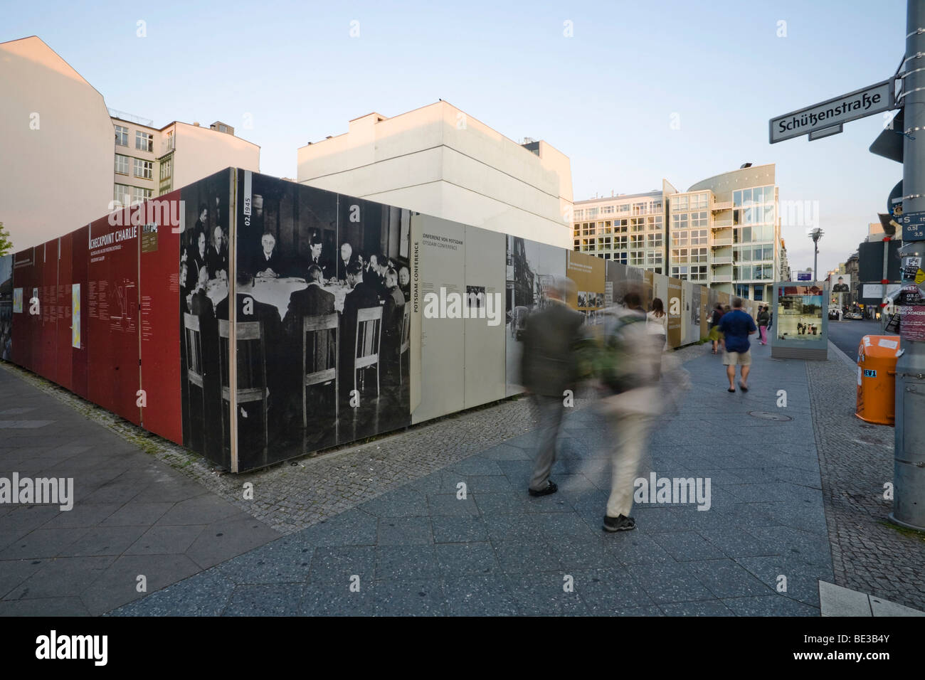Exhibition and documentation on the Berlin Wall, Checkpoint Charlie, Mitte district, Berlin, Germany, Europe - Stock Image