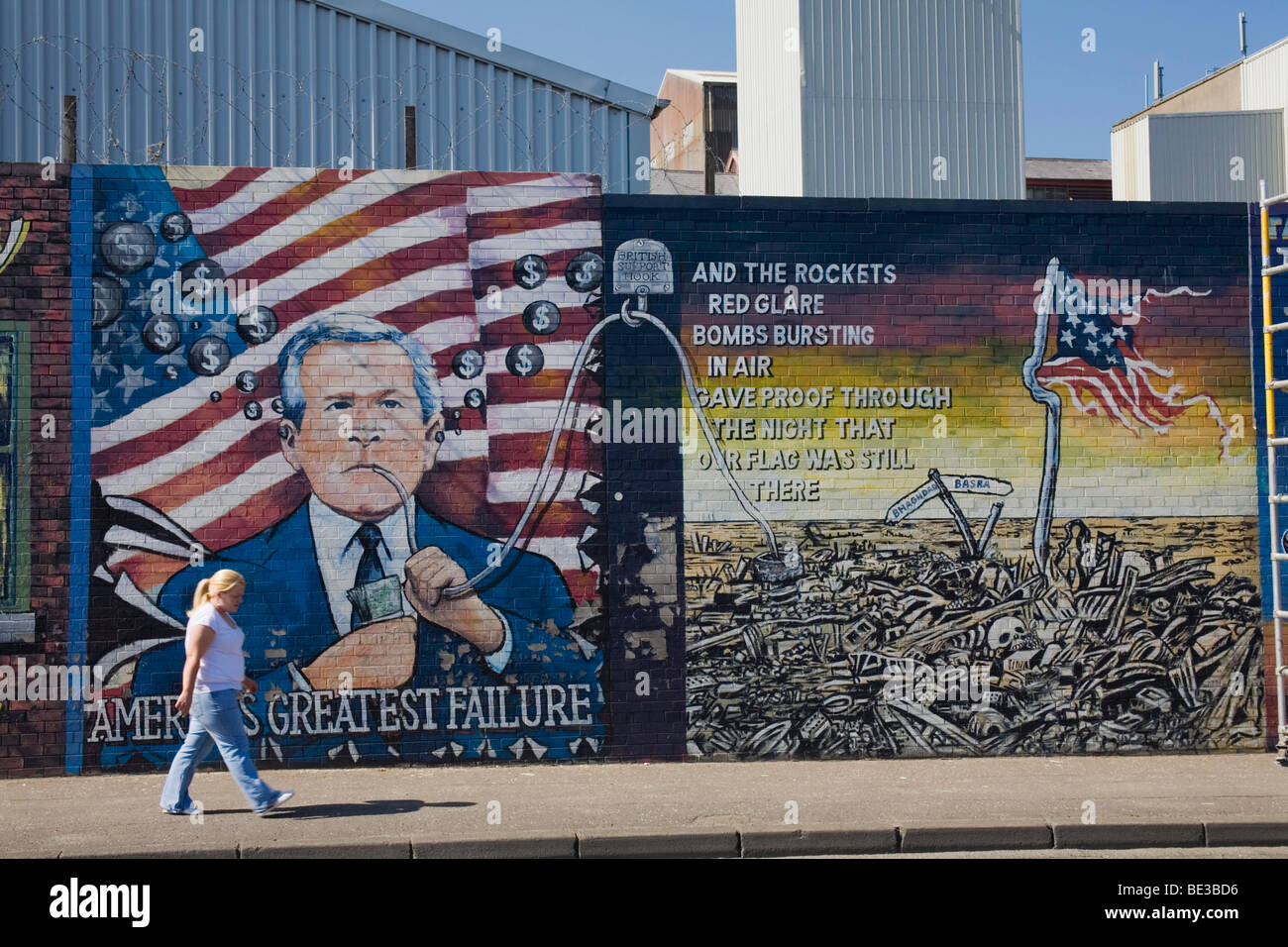 Mural paintings, against George Bush, U.S. foreign policy, Iraq war, in Belfast, County Antrim, Ulster, Northern Ireland, Unite Stock Photo