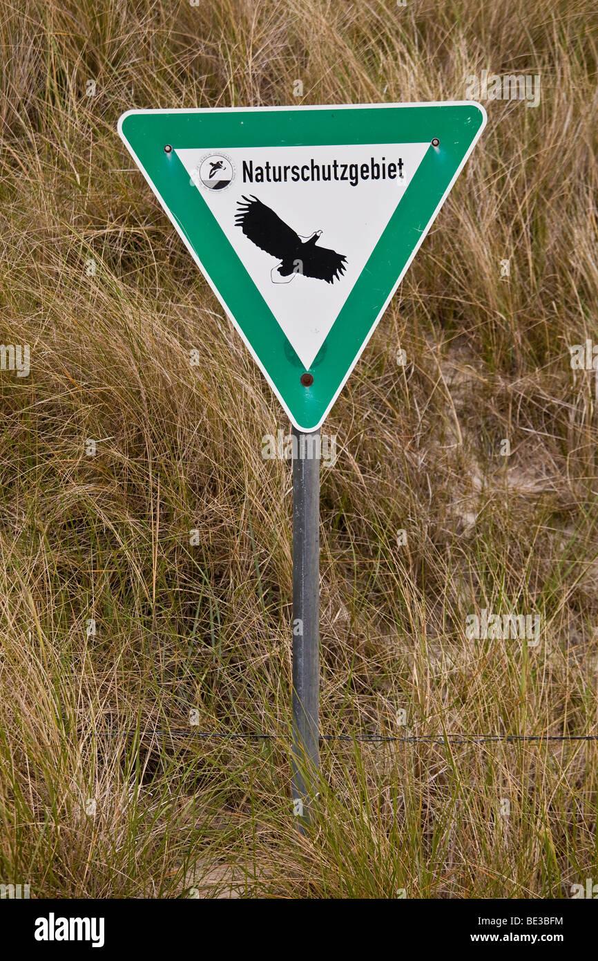 Sign, nature reserve, Amrum Island, Schleswig-Holstein, Germany, Europe - Stock Image