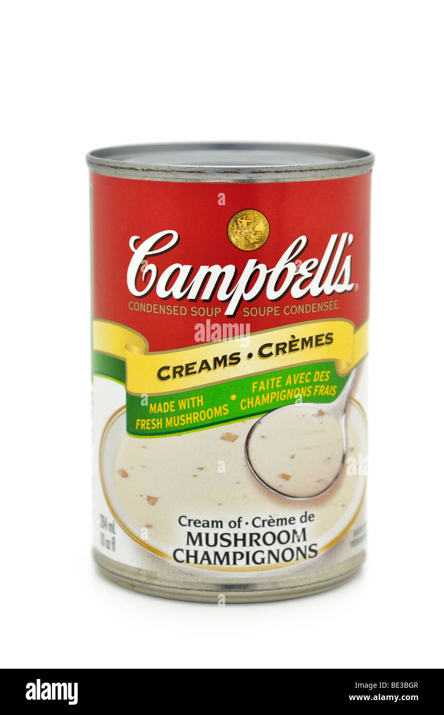 Tin/Can of Cream of Mushroom Soup. Stock Photo