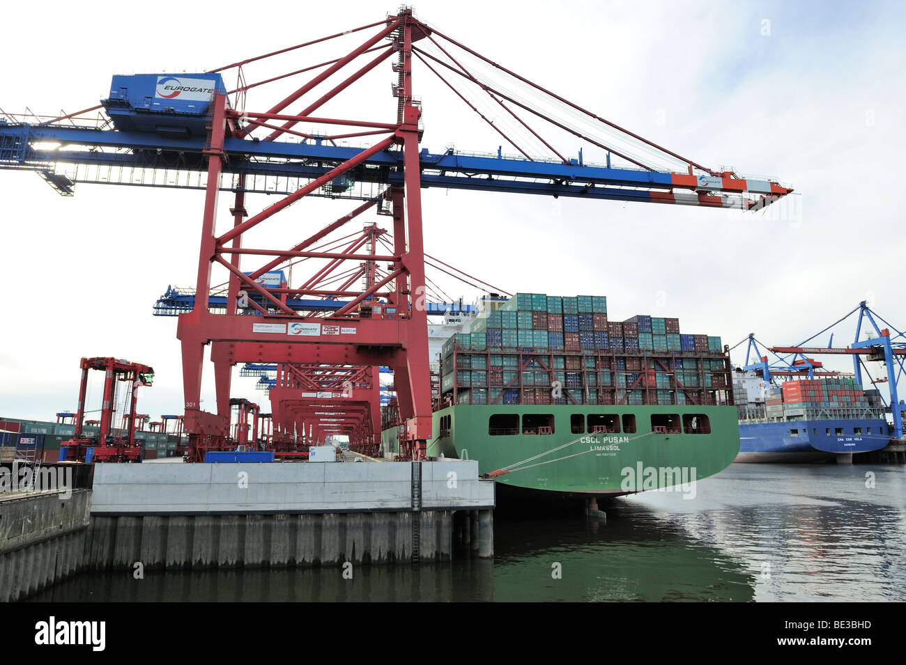 Container ship being loaded at the Eurogate, Hamburg, Germany, Europe Stock Photo