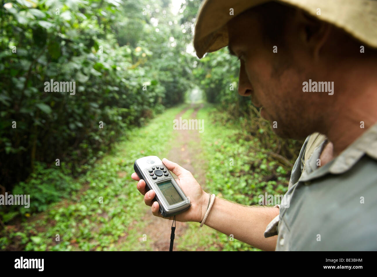 Man with a GPS in the rain forests of Bwindi Impenetrable National Park in southern Uganda. - Stock Image