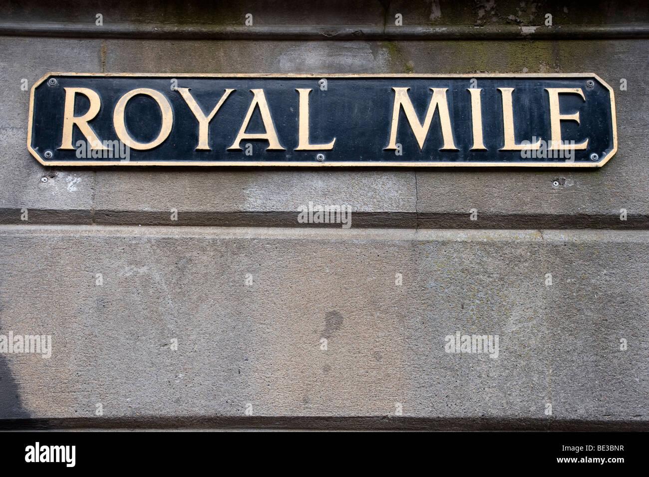 Royal Mile, street sign, Edinburgh, Scotland, United Kingdom, Europe - Stock Image
