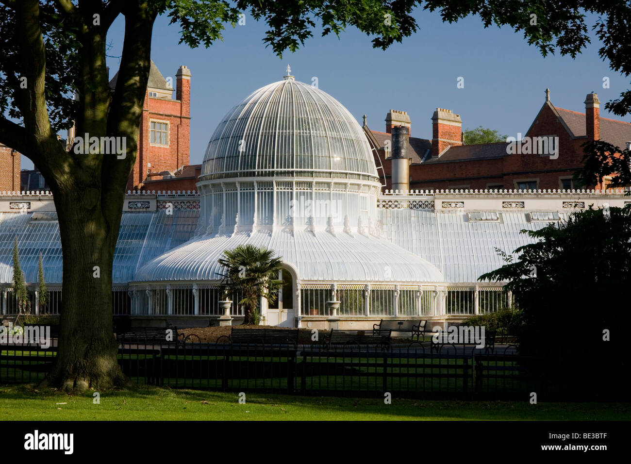 Palm house in the botanic garden of Belfast, County Antrim, Ulster, Northern Ireland, United Kingdom, Europe - Stock Image