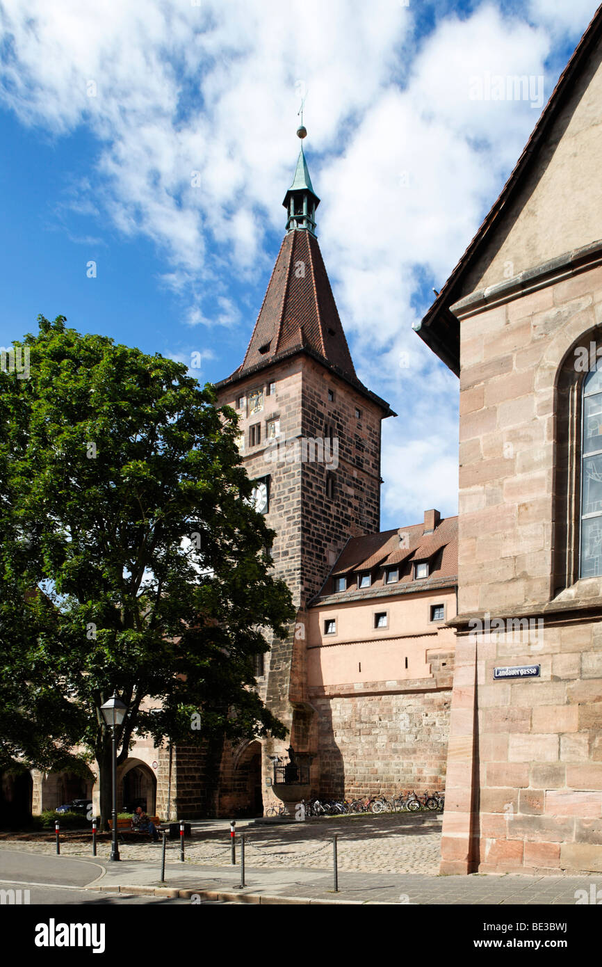 Laufer Schlagturm tower, built in 1250, Innerer Laufer Platz square, second last city fortification, city wall, - Stock Image