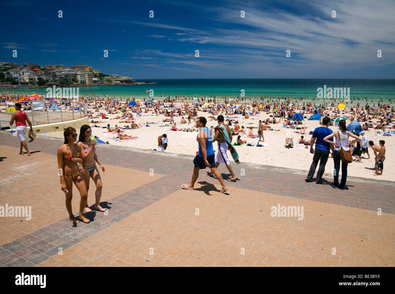 Summer crowds at Bondi Beach. Sydney, New South Wales, AUSTRALIA - Stock Image