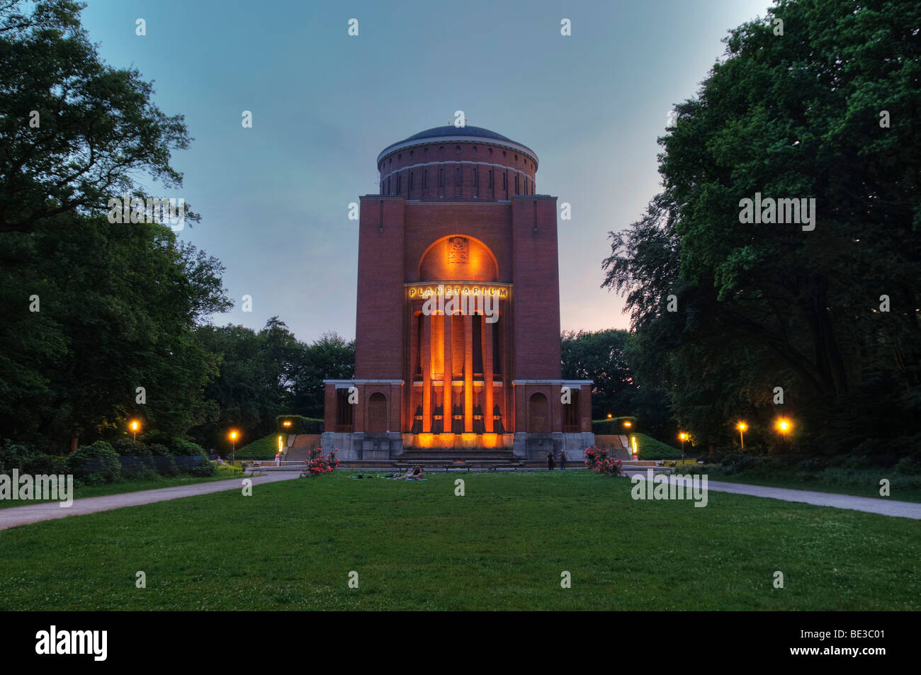 Hamburg Planetarium at dusk, Hamburg Stadtpark, public park, Hamburg, Germany, Europe Stock Photo