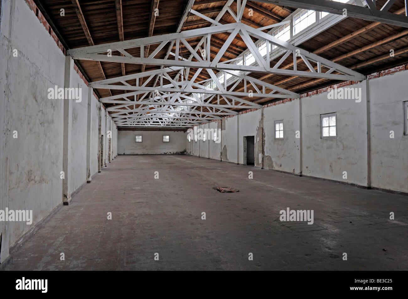 Work barracks at the women's concentration camp Ravensbrueck, Brandenburg, Germany, Europe - Stock Image