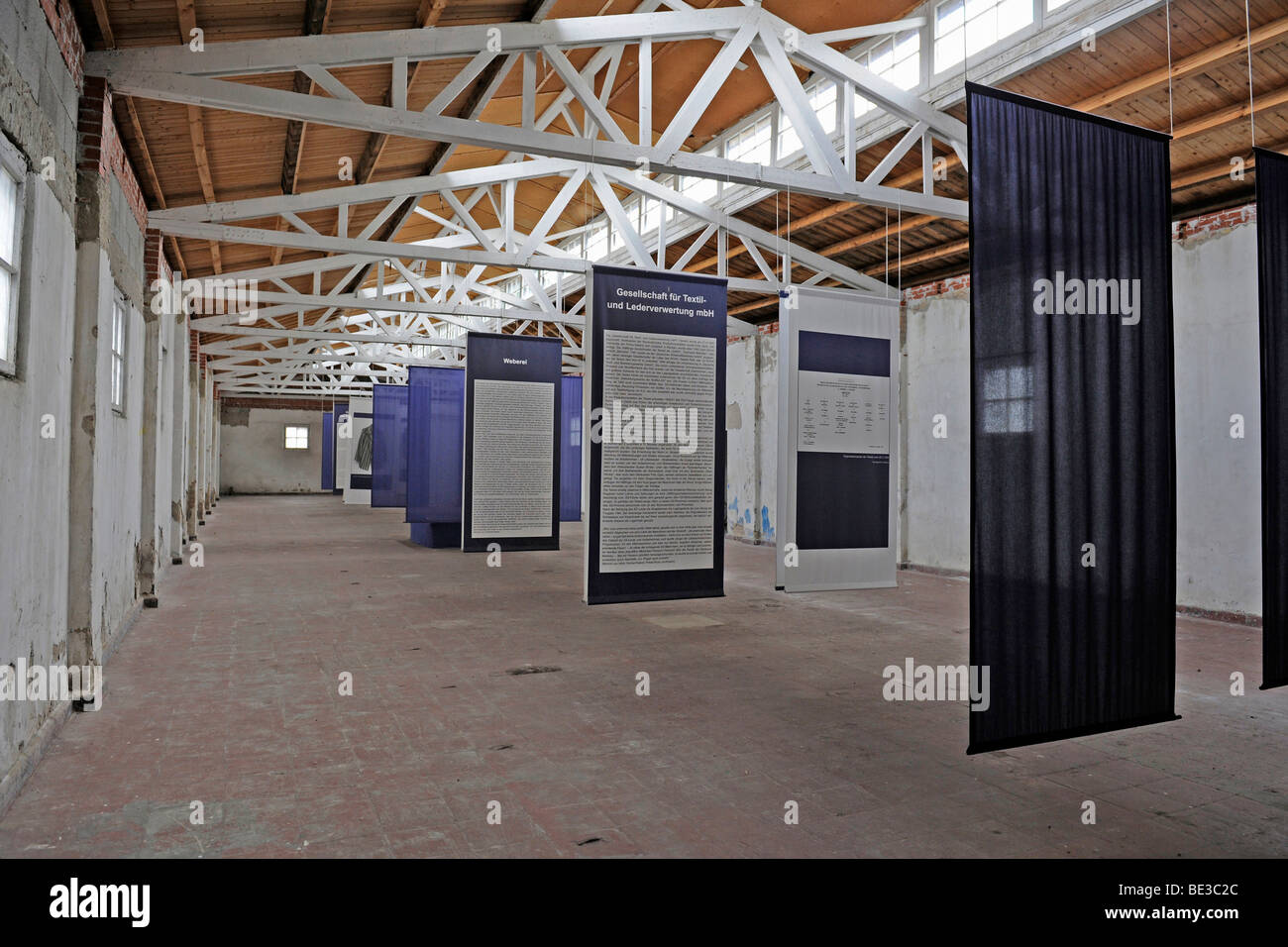 Exhibition in a work barrack at the women's concentration camp Ravensbrueck, Brandenburg, Germany, Europe - Stock Image