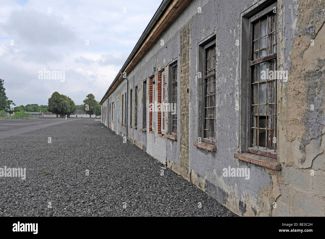 Exterior view of a work barrack at the women's concentration camp Ravensbrueck, Brandenburg, Germany, Europe - Stock Image