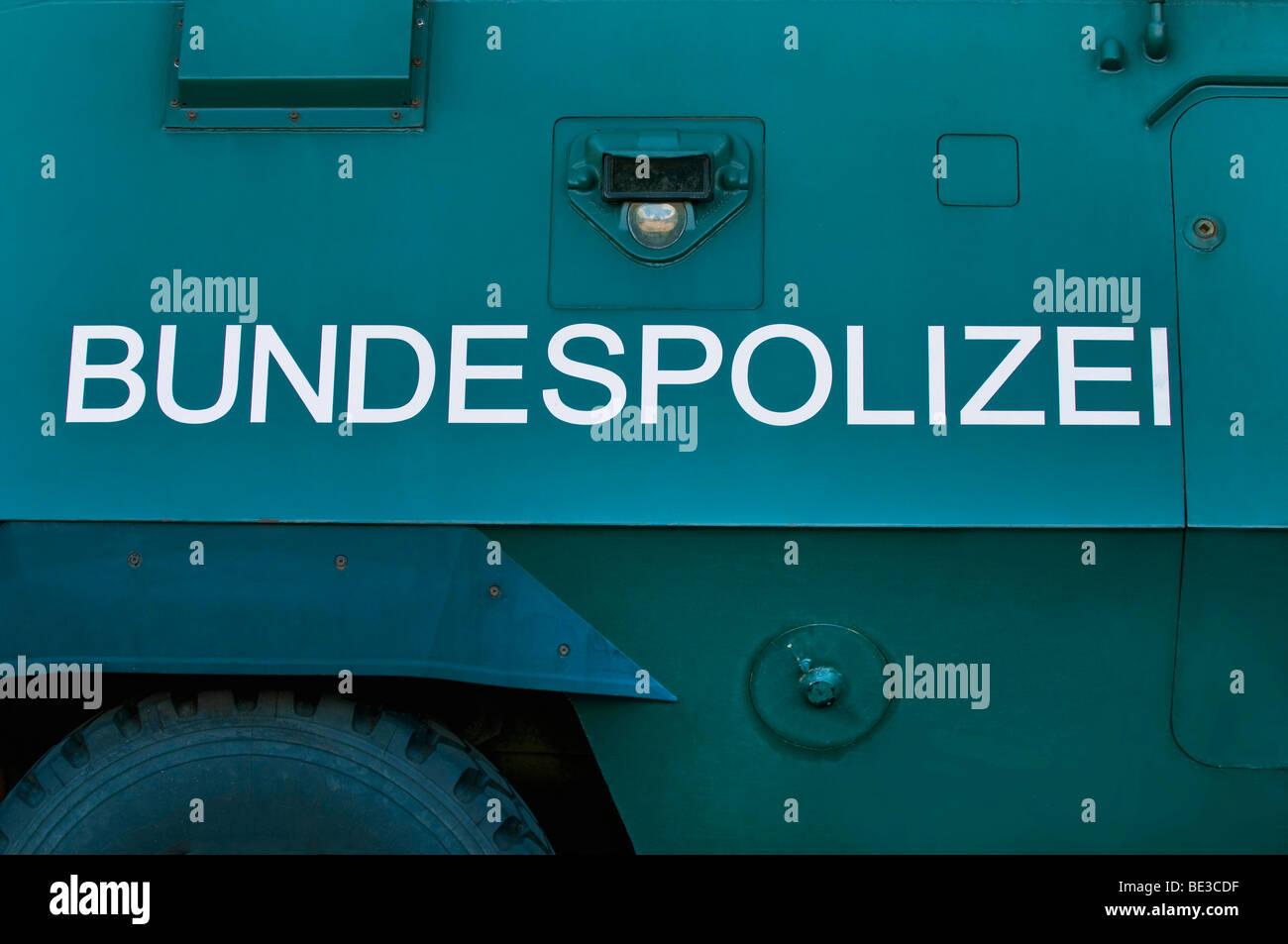 'Bundespolizei', federal police, written on armour-clad vehicle - Stock Image