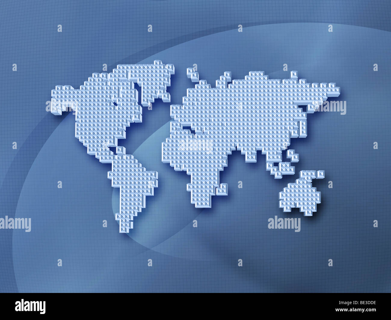 Digitally generated image of the world in pixels. - Stock Image