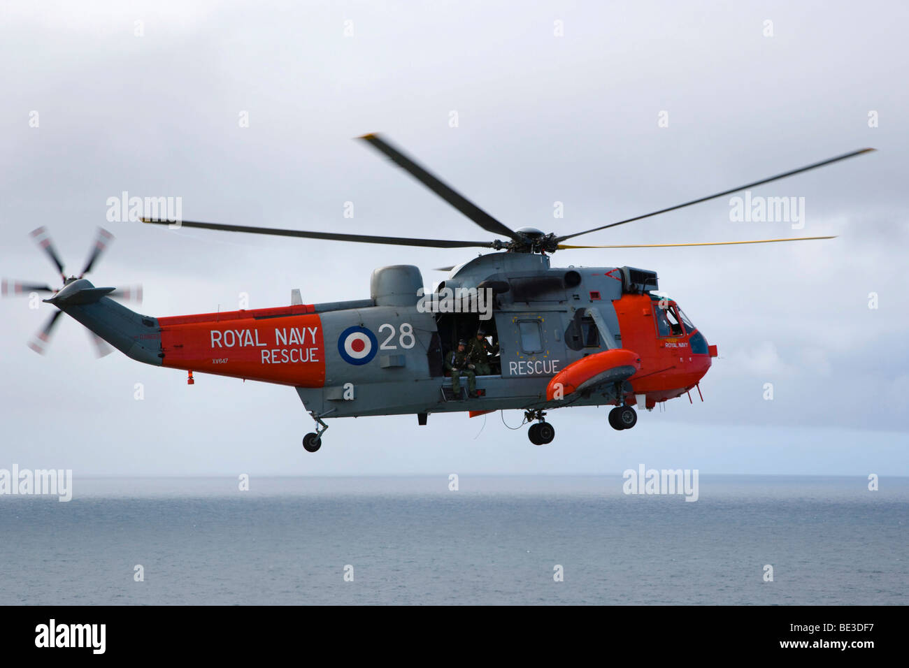 Royal Navy Rescue helicopter, Land's End, Penn an Wlas, Cornwall, England, United Kingdom, Europe - Stock Image