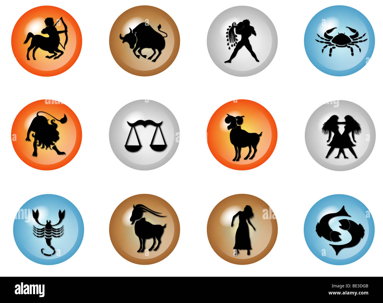 illustration of 12 colorful zodiac web buttons - Stock Image