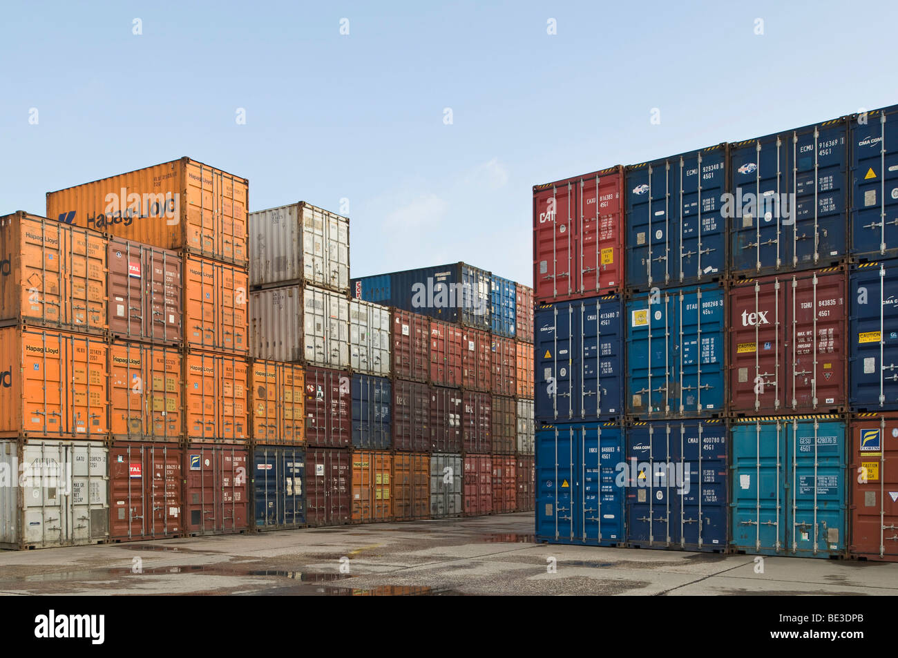 Bonn Container Terminal, overlooking stacked oversea containers in the depot, Bonn harbour, North Rhine-Westphalia, Stock Photo