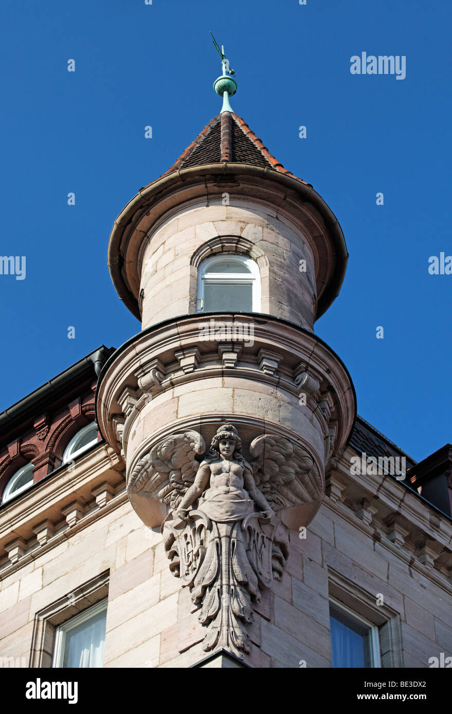 Oriel with angel figure, support, house, art nouveau, old town, Nuremberg, Middle Franconia, Franconia, Bavaria, - Stock Image