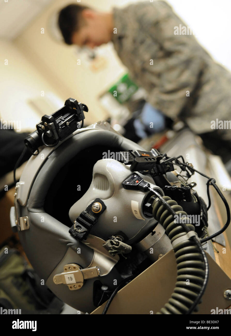 April 21, 2009 - A fully assembled flight crew helmet sits after being inspected by an Airman. - Stock Image