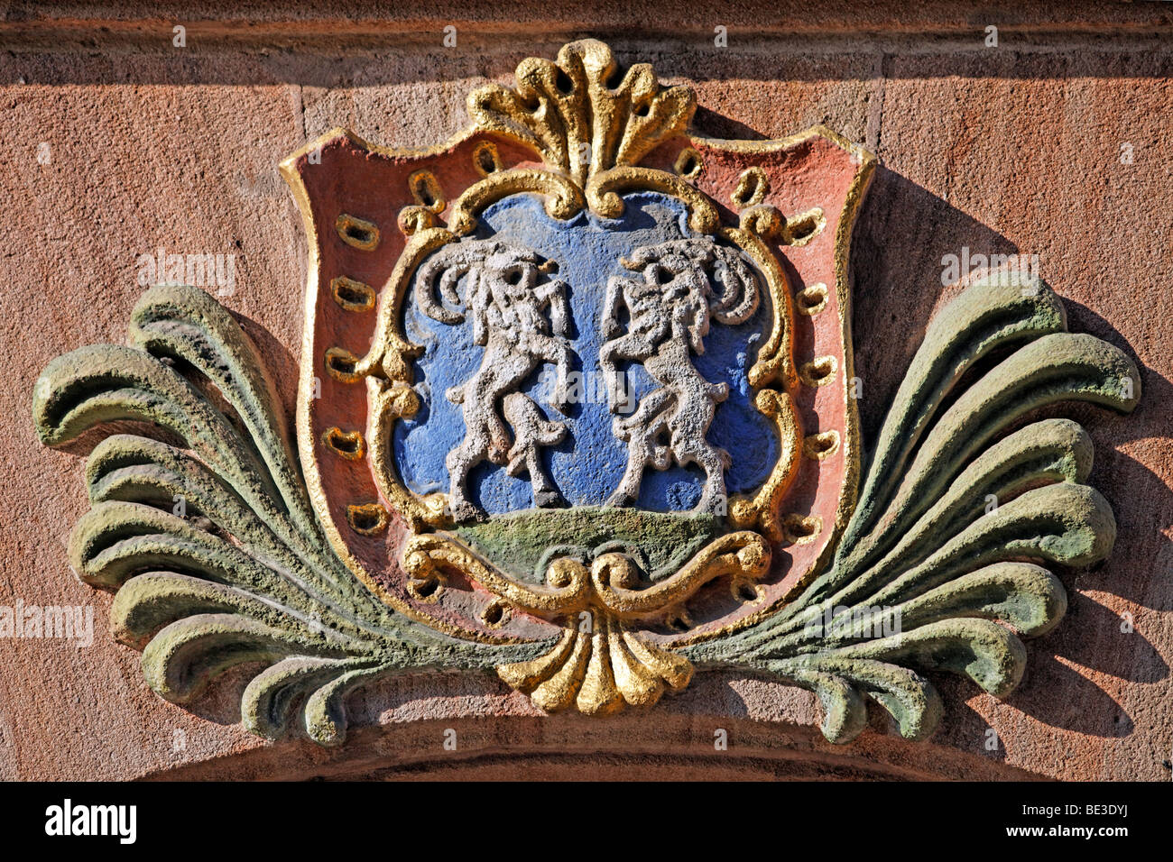 Coat of arms with two goats, above a house door, old town, Nuremberg, Middle Franconia, Franconia, Bavaria, Germany, - Stock Image