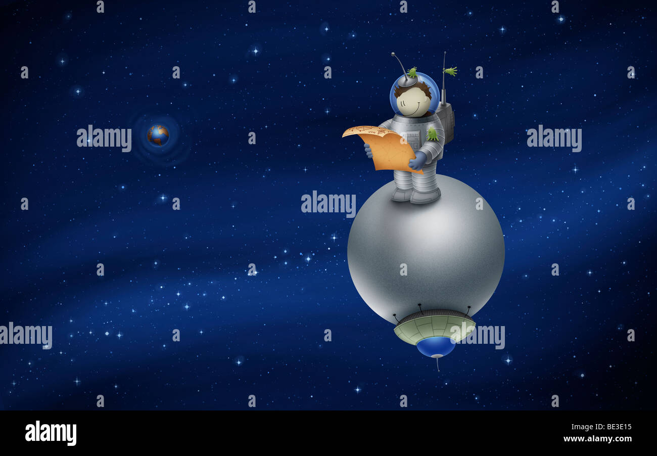 Illustration of a cartoon astronaut in outer space. - Stock Image