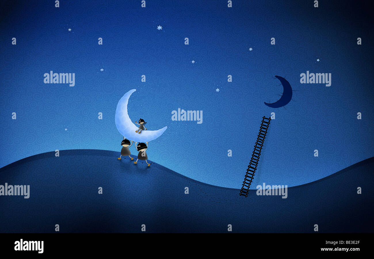 Illustration of cartoon characters stealing the moon. - Stock Image