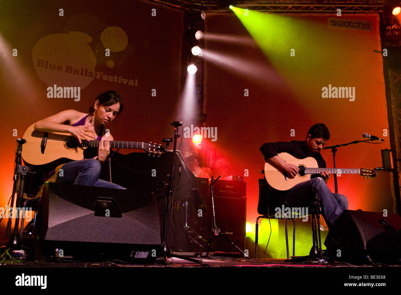 Mexican guitar duo Rodrigo Y Gabriela performing live at the Blue Balls Festival in the Lucerne Hall of the KKL - Stock Image