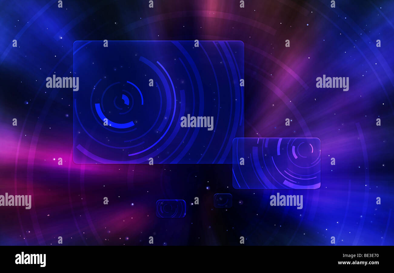 Digitally generated image of a space travel scene. - Stock Image