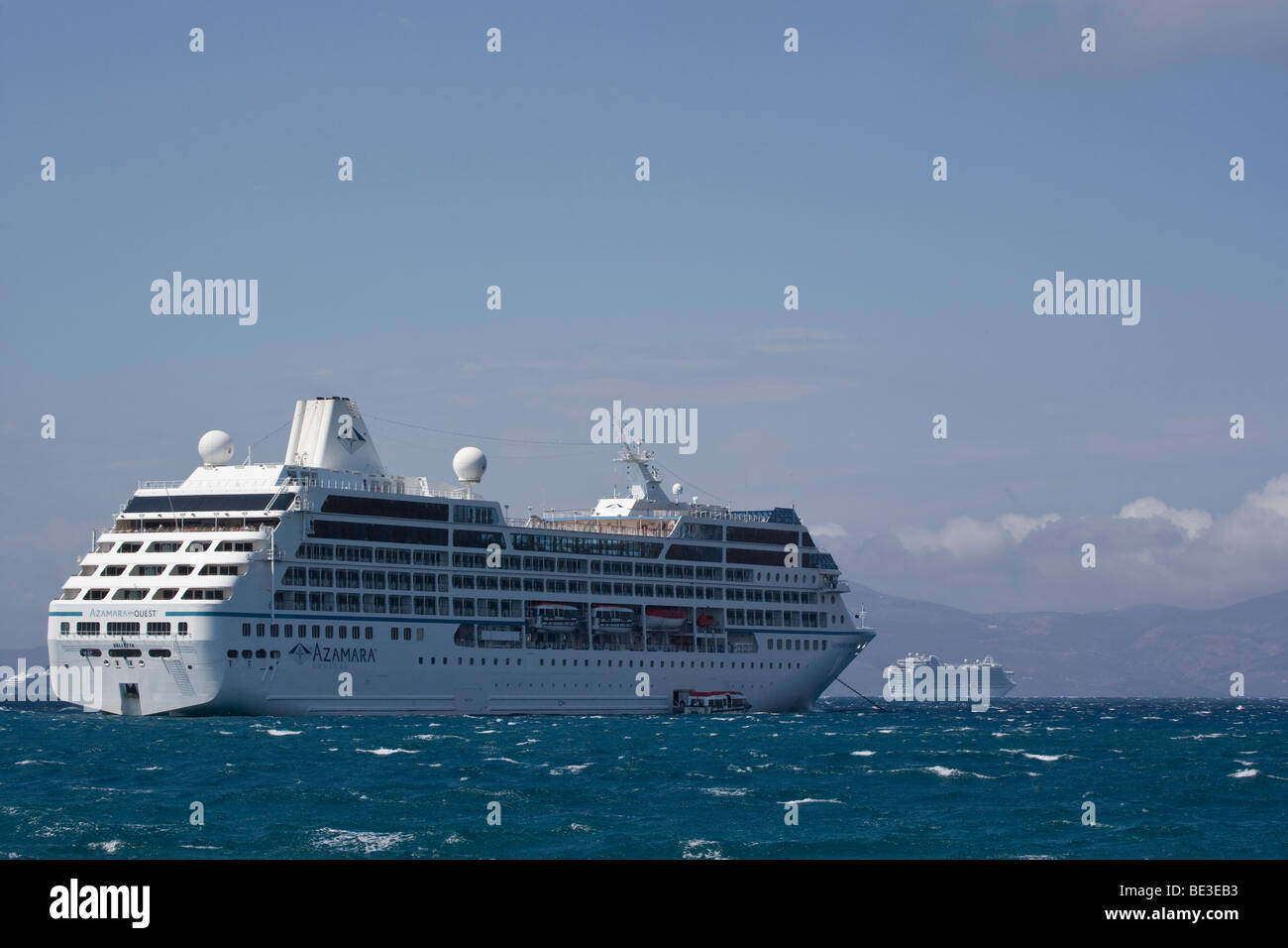 Cruise Ship Azamara Quest Anchored Mykonos Greece - Stock Image