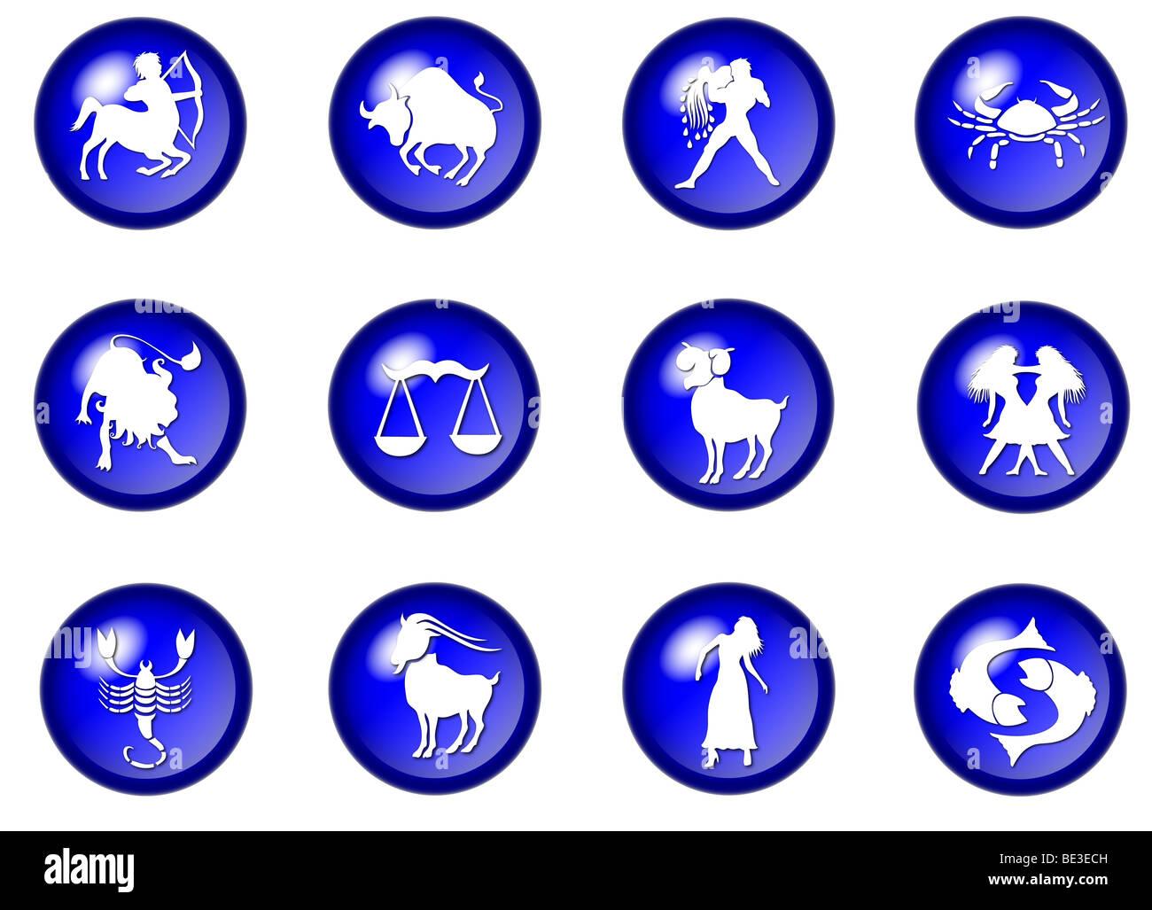 illustration of 12 blue zodiac web buttons - Stock Image