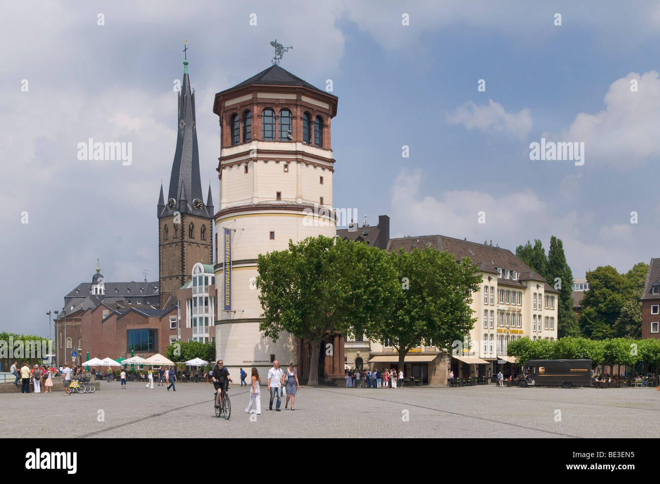 Duesseldorf Rhine bank, historic centre, Burgplatz Square and Lambertuskirche Church, North Rhine-Westphalia, Germany, - Stock Image