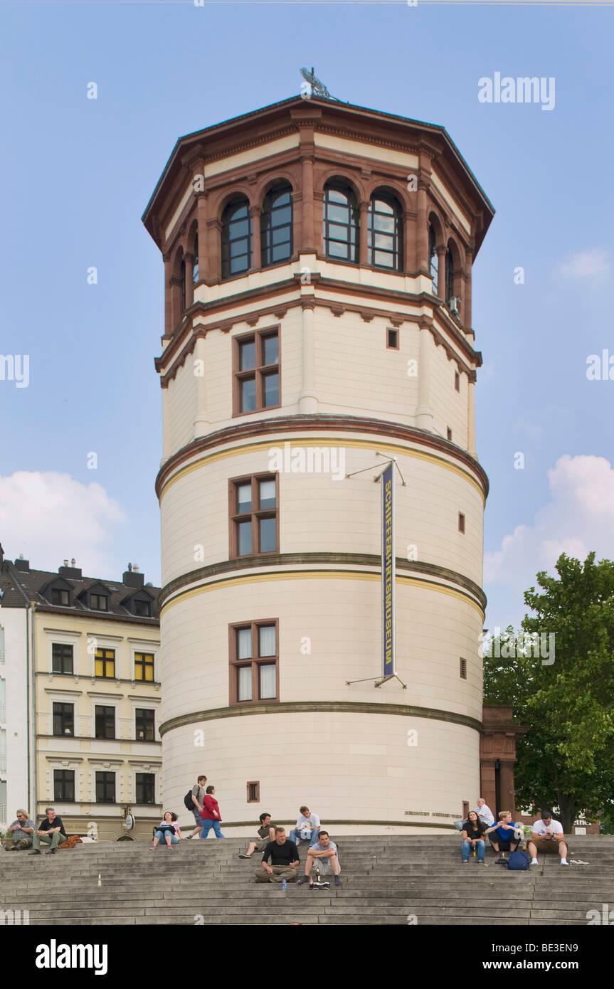 Castle tower on Burgplatz Square, seat of the maritime museum, Dusseldorf, North Rhine-Westphalia, Germany, Europe - Stock Image