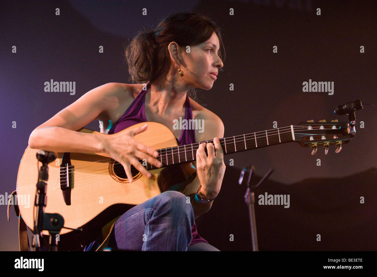 Gabriela Quintero from the Mexican guitar duo Rodrigo Y Gabriela performing live at the Blue Balls Festival in the - Stock Image