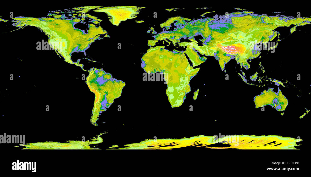 Digital elevation model of the continents on Earth. - Stock Image