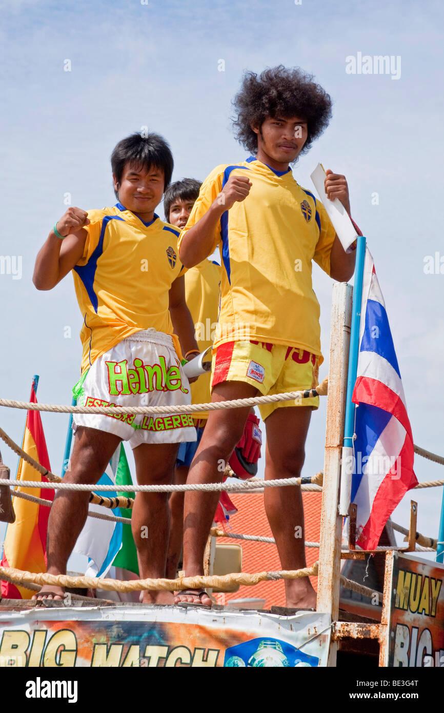 Thai boxer advertising a fight, Karon, Phuket Island, Thailand, Asia - Stock Image