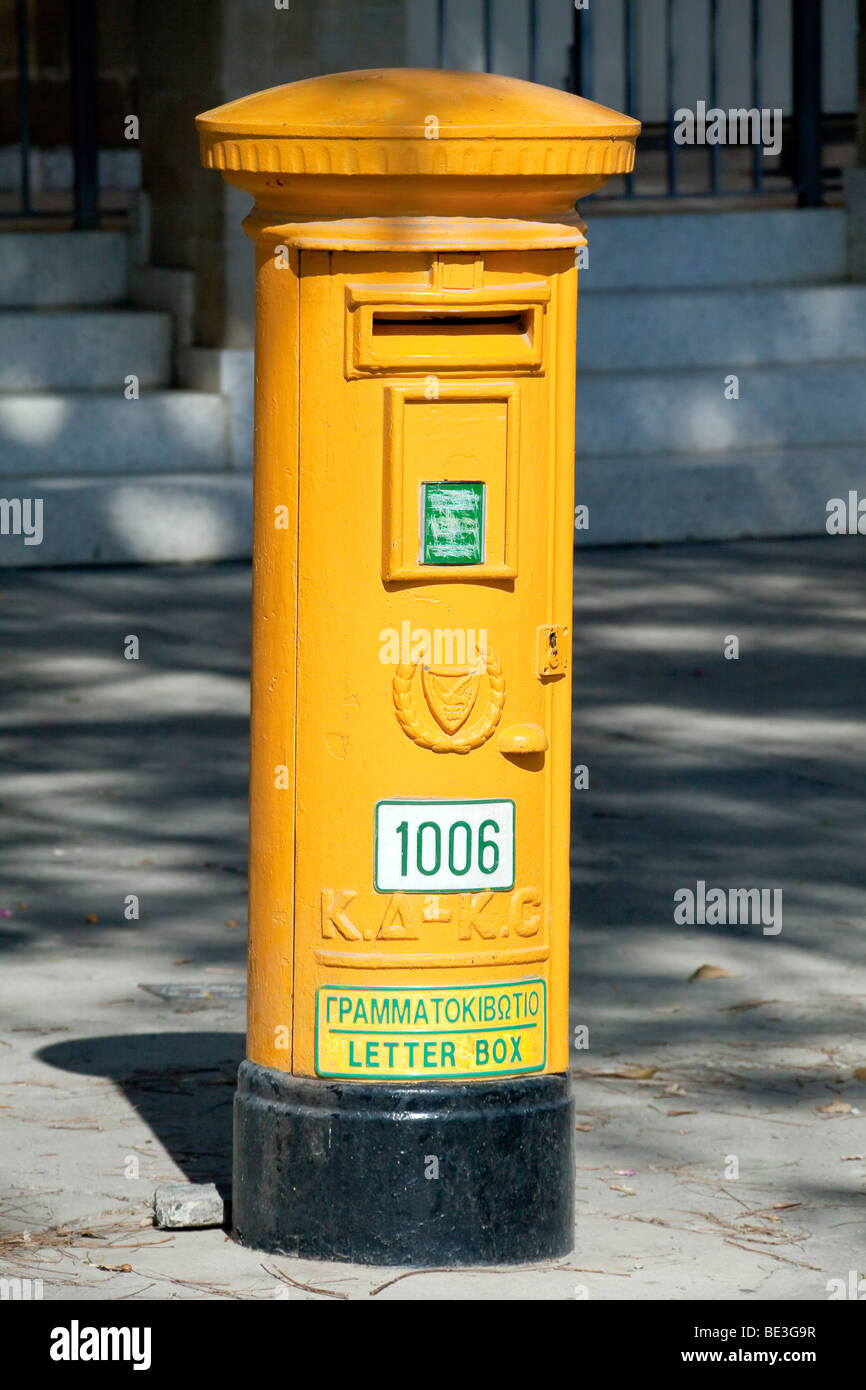 Post box of the southern Cypriot post, Nicosia, Lefkosia, Lefkosa, capital of Cyprus, Southern Cyprus, Southern Stock Photo