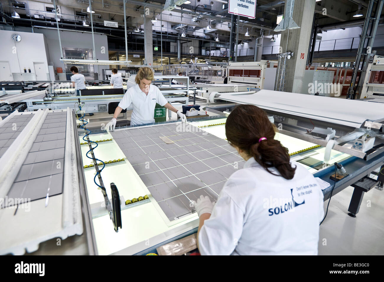 Production of solar modules at SOLON SE, Berlin-Adlershof, Germany, Europe Stock Photo