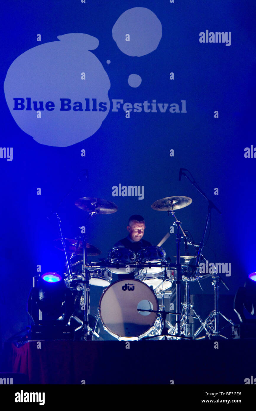 Drummer of the British soul and pop singer Seal, live at the Blue Balls Festival in the Lucerne hall of the KKL - Stock Image