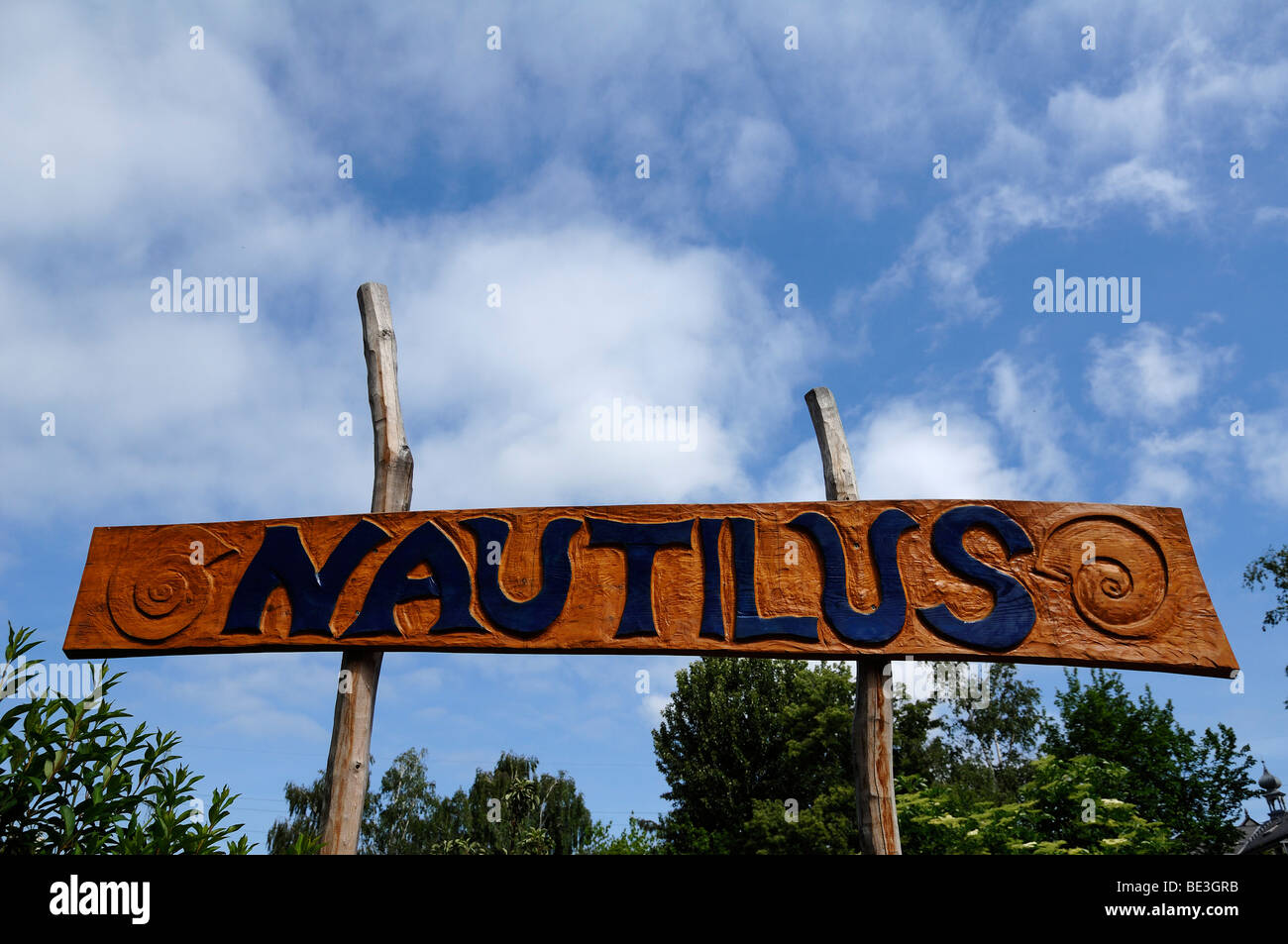 Sign Natilus, name of a playground in the Loebtau district, Dresden, Saxony, Germany, Europe - Stock Image
