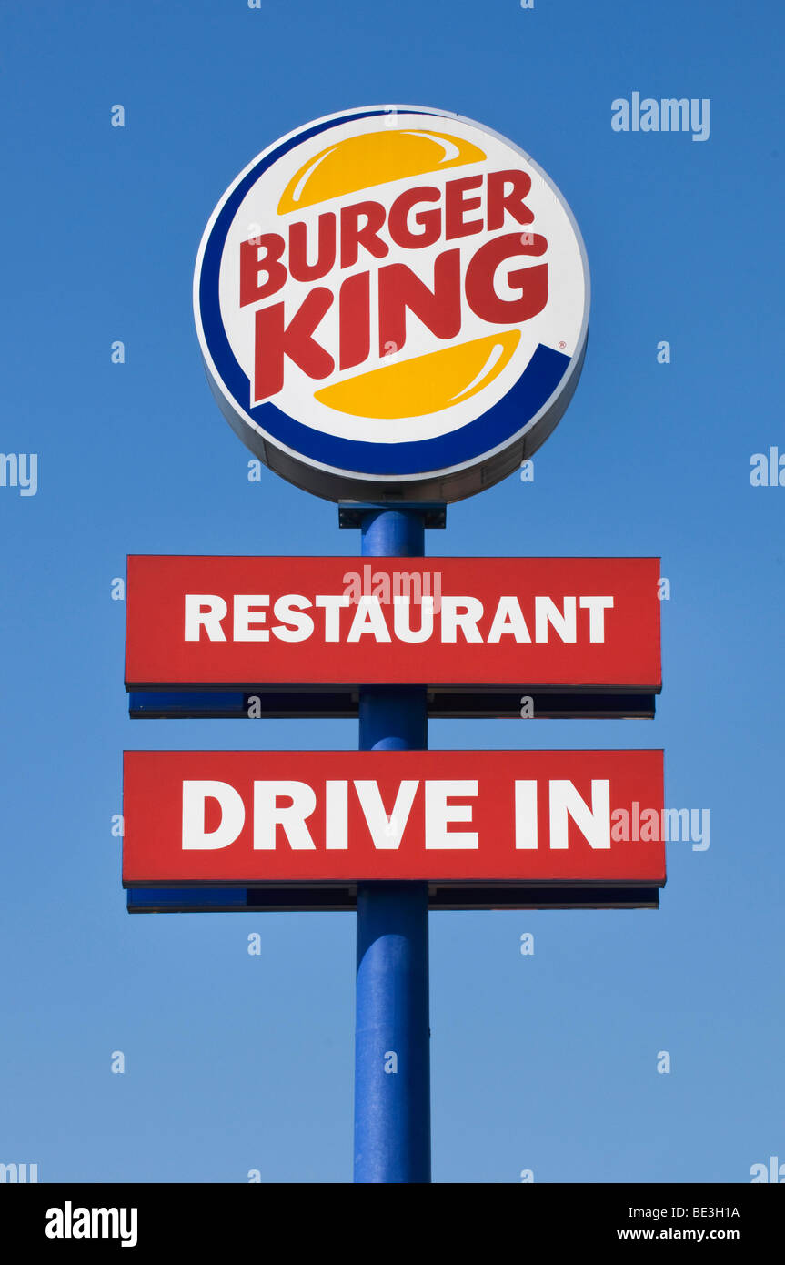 Sign With Logo Burger King Restaurant Drive In