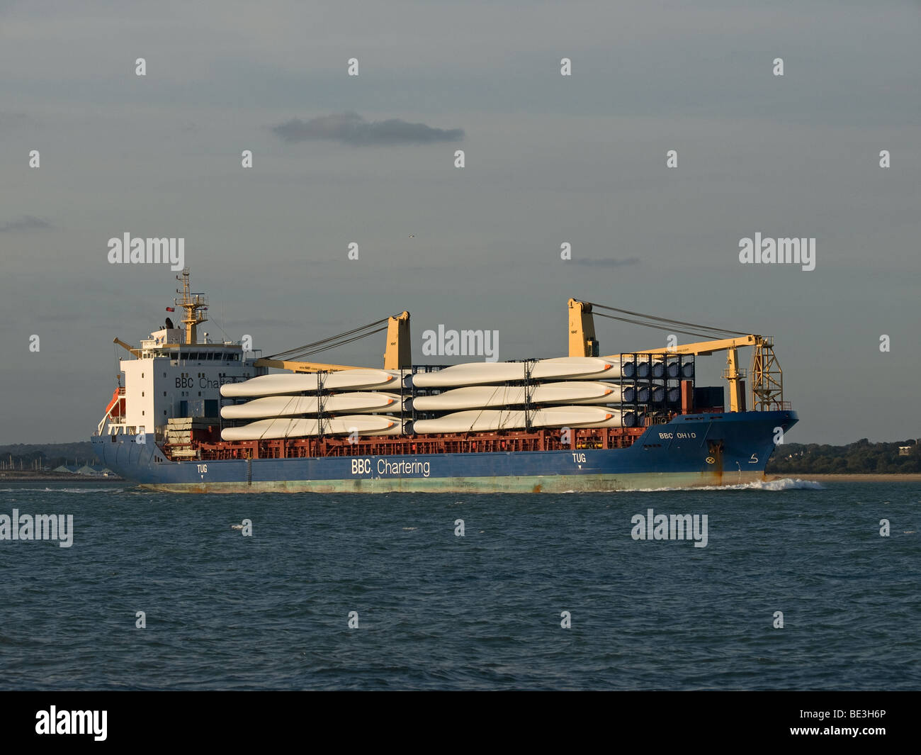 General cargo ship BBC Ohio leaving Southampton UK with a cargo of wind turbine blades - Stock Image