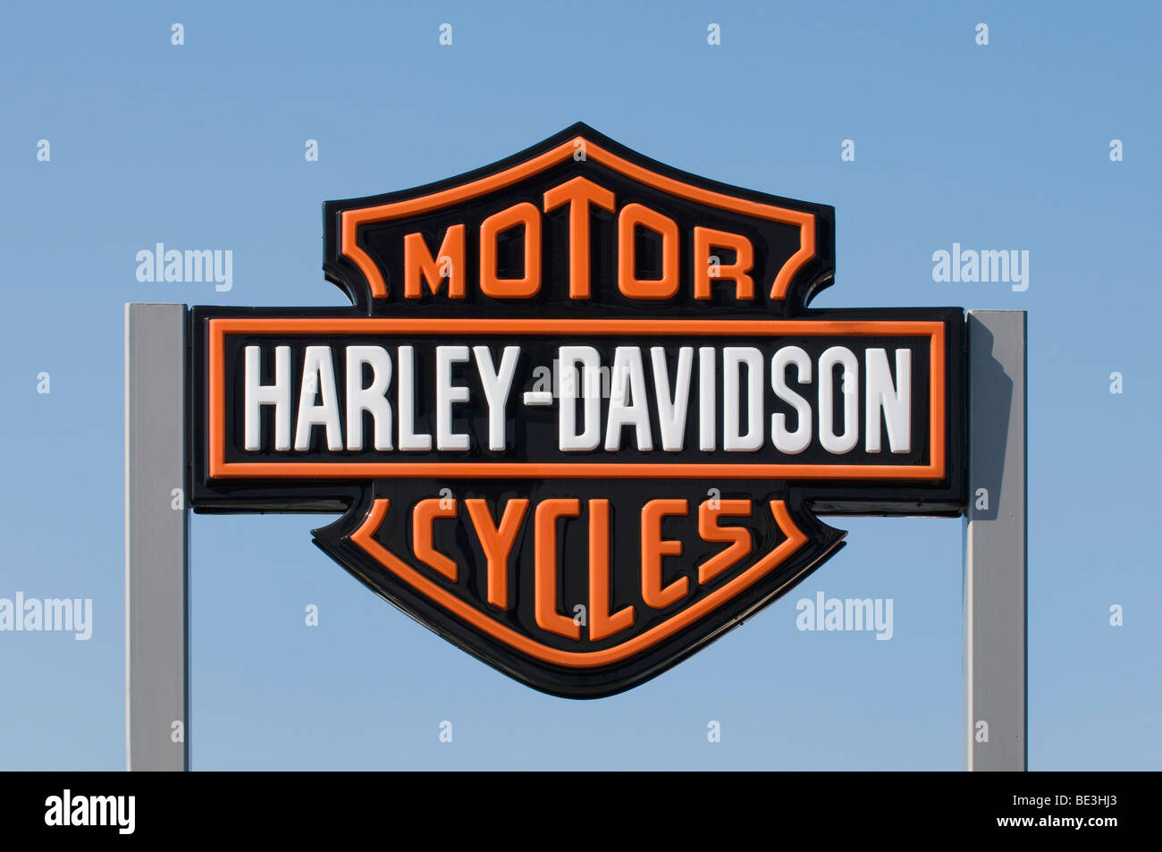 Sign, Harley-Davidson, motorcycles - Stock Image