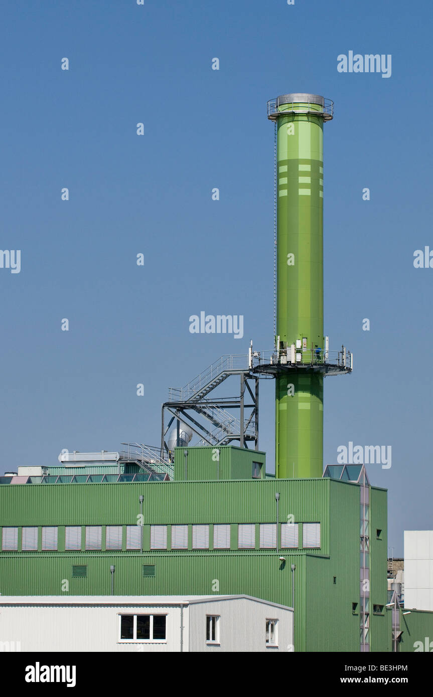 Incinerator, MVA Bonn, high chimney against a blue sky, North Rhine-Westphalia, Germany, Europe - Stock Image