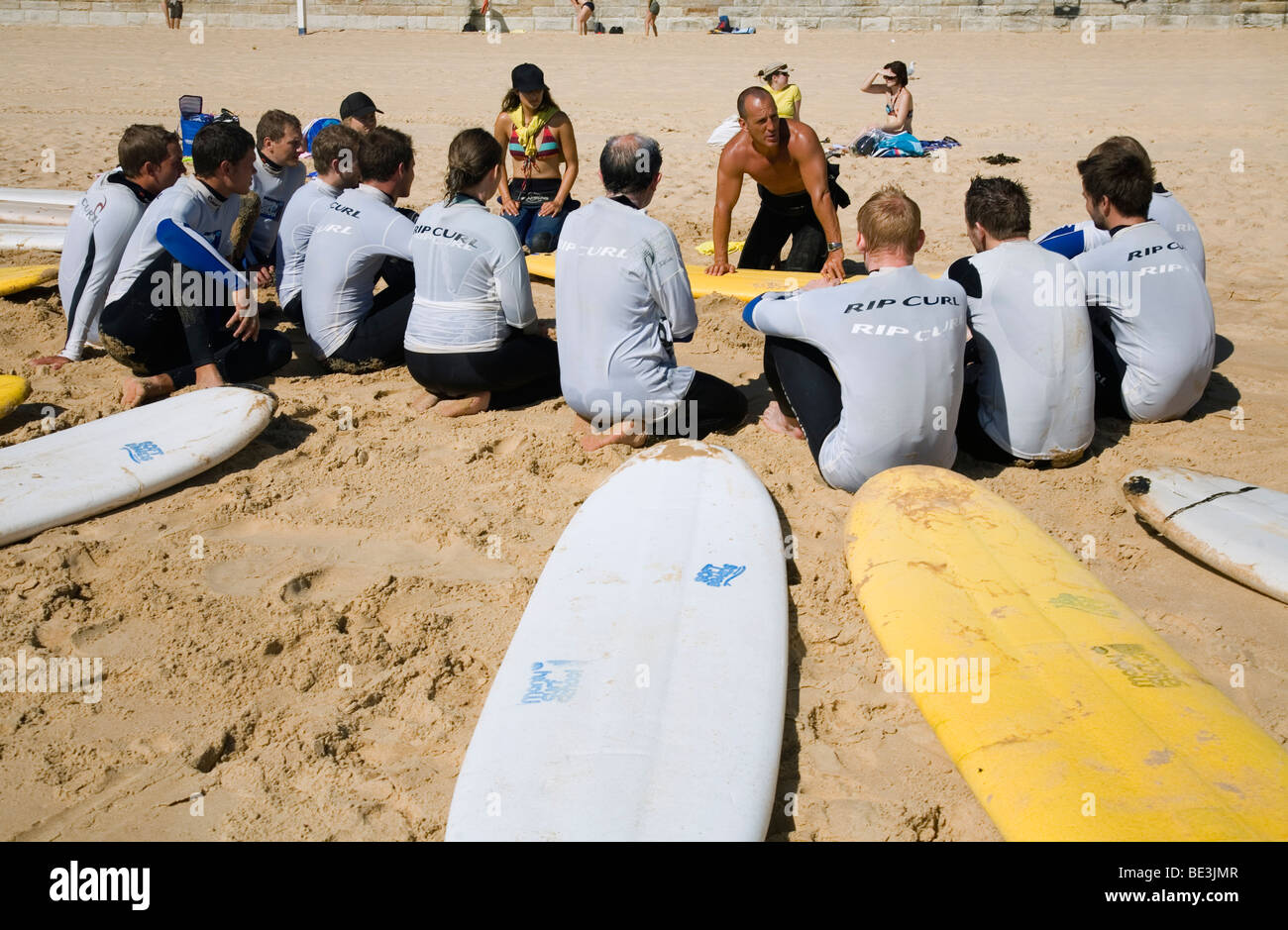 Surf school on the sands of Manly Beach. Sydney, New South Wales, AUSTRALIA - Stock Image