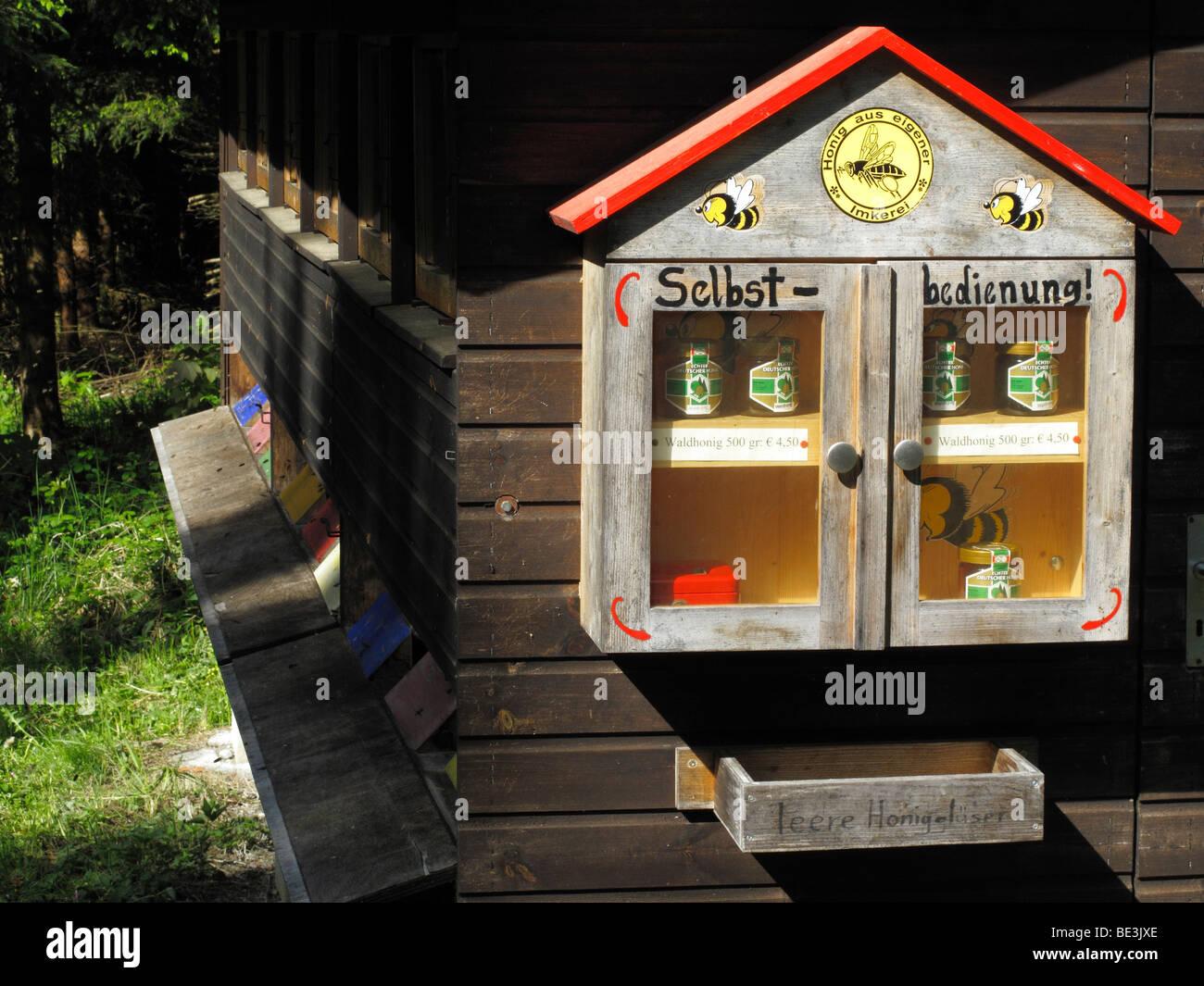 Beehouse with self service for honey, Koenigsdorf, Upper Bavaria, Bavaria, Germany, Europe - Stock Image