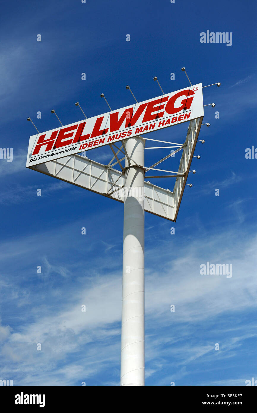Advertising sign and logo of the Hellweg DIY chain Stock Photo